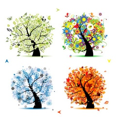 Four seasons tree - spring summer autumn winter vector