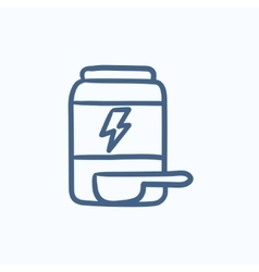 Sport nutrition container sketch icon vector