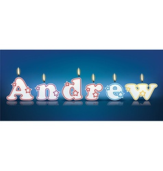 Andrew written with burning candles vector