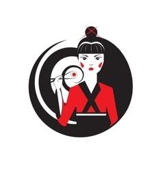 Beautiful oriental girl holding sushi maki with vector