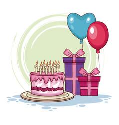 Birthday cake with ballonns vector