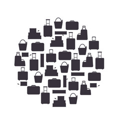 black silhouette travel bags in circle isolated on vector image