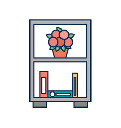 bookcase and potted flowers furniture decoration vector image