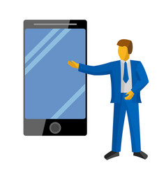 Businessman in blue suit present new big phone vector