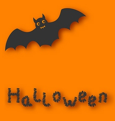 Cartoon bat with with text on orange background vector image