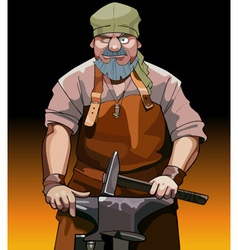 Cartoon male blacksmith worker with hammer vector