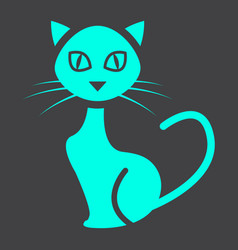 Cat glyph icon halloween and scary animal sign vector