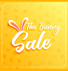 Cute easter sale banner design with bunny ears vector