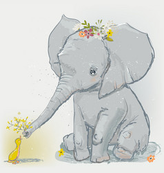 cute elephant with little duck vector image