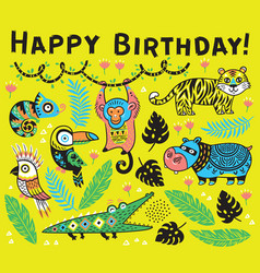 cute happy birthday card with cartoon animals in vector image