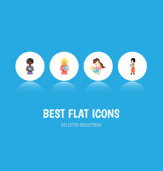 Flat icon mam set of mam child kid and other vector