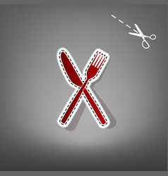 Fork and knife sign red icon with for vector