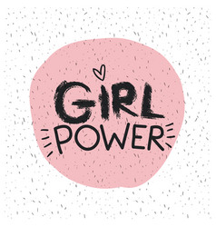 Girl power emblem text in pink circle on white vector