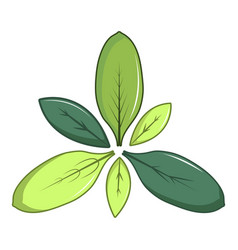 green leaves icon cartoon style vector image