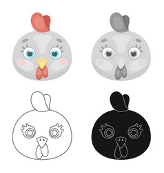 hen muzzle icon in cartoon style isolated on white vector image