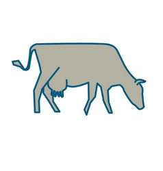 line silhouette of standing cow vector image vector image