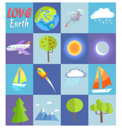 Love earth poster with in cells vector