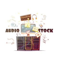 Microstock audio concept retro cartoon vector