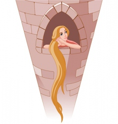 Princess rapunzel in tower vector
