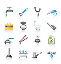 realistic plumbing objects and tools icons vector image