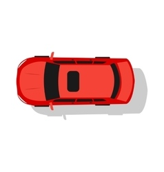 Red car top view flat design vector