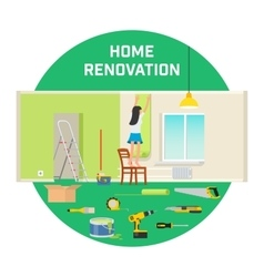Room repair in home Interior renovation in vector image vector image