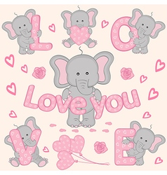 set of cute valentine elephant part 1 vector image