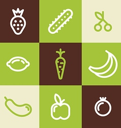 Set of Line Art Icons Healthy Vegetables and vector image