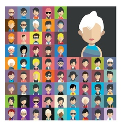 Set of people icons in flat style with faces 12 a vector