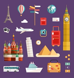 Set of tourism concept and icons vacation flat vector