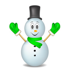 Smiling snowman wearing mittens hat and scarf vector