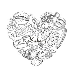 The isolated heart of bakery products vector