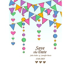 Wedding invitation with decoration of hanging vector