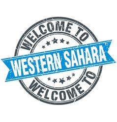 Welcome to western sahara blue round vintage stamp vector