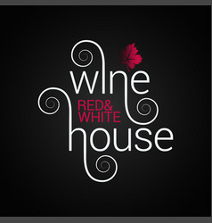 wine logo design red and white wine label on vector image