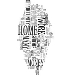 Work at home schemes text word cloud concept vector