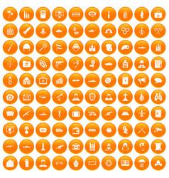 100 military icons set orange vector
