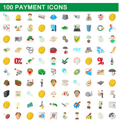 100 payment icons set cartoon style vector image vector image