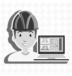 Man laptop helmet tools vector