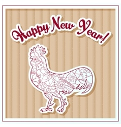 Happy new year card on cardboard with cock vector