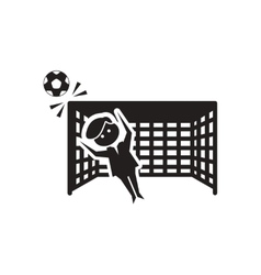 Flat icon in black and white football goalkeeper vector