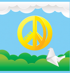 Hippie peace symbol with nature background vector