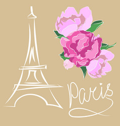 Paris text with eiffel tower and flower vector
