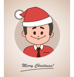 Christmas card with happy santa claus in red hat vector