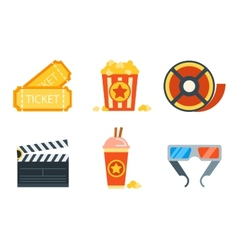 Flat icons set of professional film production vector