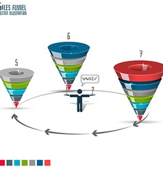 Sales funnel stages 5-7 3d graphics vector
