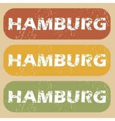 Vintage hamburg stamp set vector