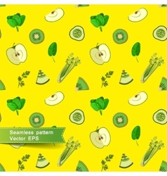Seamless pattern with slices of fruit and vector
