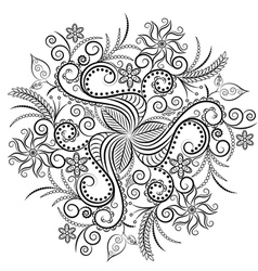 Monochrome floral background hand drawn ornament vector