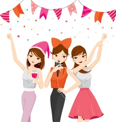 Woman fun in party with drinks singing dancing vector